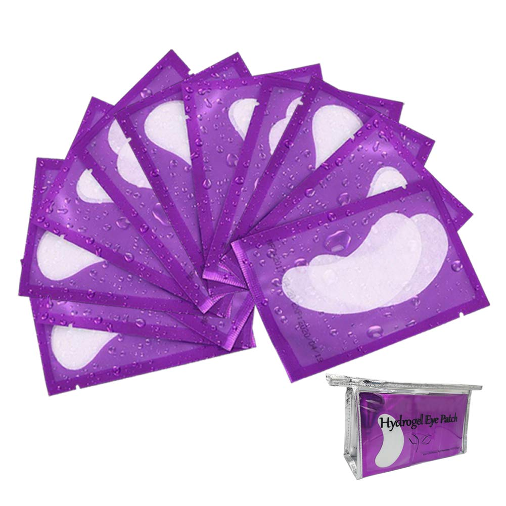 100 Pairs Eyelash Extension Gel Patches, Lash Extensions Lint Free Hydrogel Under Eye Pads Beauty Eye Mask supplies(purple): Beauty
