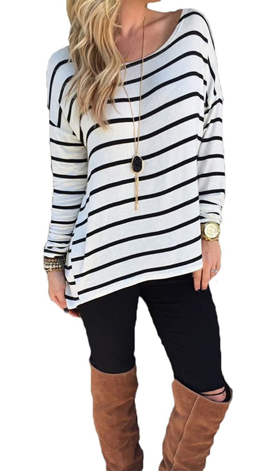 Women's Black and White Stripes Long Sleeve T-shirt Tops at Amazon ...