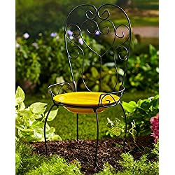 The Lakeside Collection Chair Style Birdbath- Yellow