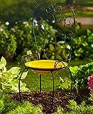 The Lakeside Collection Chair Style Birdbath- Yellow