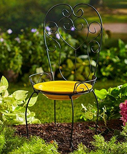 The Lakeside Collection Chair Style Birdbath- Yellow by The Lakeside Collection