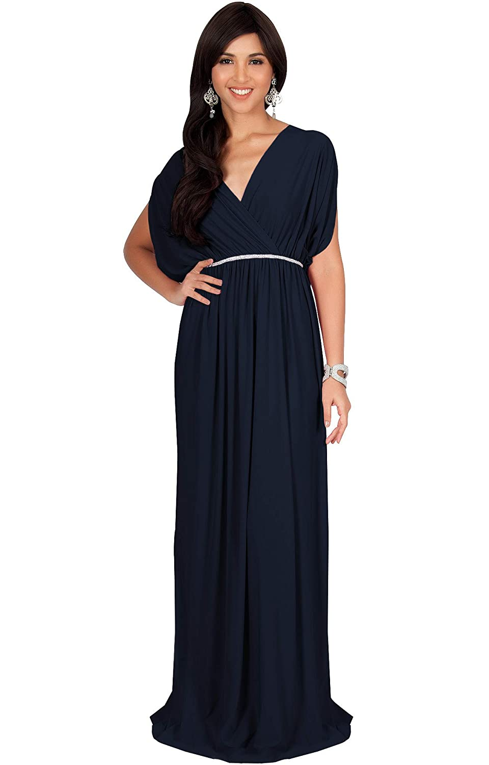 1920s Downton Abbey Dresses KOH KOH Womens Long Dolman Sleeve Wrap V-Neck Cocktail Bridesmaid Maxi Dress $44.95 AT vintagedancer.com