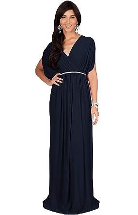 149c6512d2b KOH KOH Womens Long Cocktail Empire Waist Short Sleeve Formal V-Neck  Bridesmaid Summer Flowy