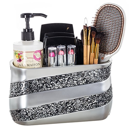 (DWELLZA Silver Mosaic Bathroom Counter Vanity Organizer, Countertop Cosmetic Makeup Holder Hair Brush Caddy Hair Accessories Storage, 3-Compartments Decorative Bath Organization (Silver Gray))