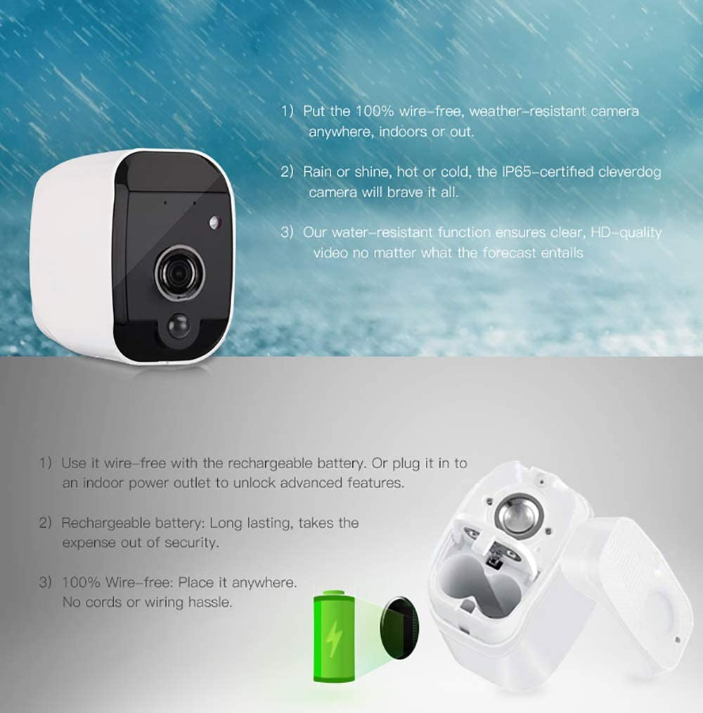Night Vision 1080P HD Wireless Rechargeable Battery Powered WiFi Home Surveillance Camera with Waterproof 2-Way Audio and SD Storage Clever dog Security Camera Outdoor Motion Detection