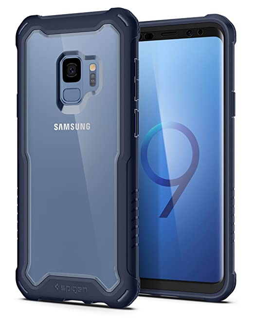 new concept f528b fb888 Spigen Hybrid 360 Designed for Samsung Galaxy S9 Case (2018) Glass Screen  Protector Included - Deep Sea Blue