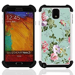 GIFT CHOICE / Defensor Cubierta de protección completa Flexible TPU Silicona + Duro PC Estuche protector Cáscara Funda Caso / Combo Case for Samsung Galaxy Note 3 III N9000 N9002 N9005 // Green Teal Vintage Wallpaper Flowers //