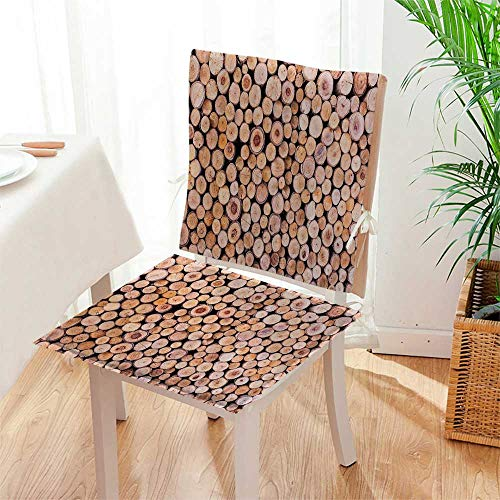 Log Rocker Set - Mikihome Chair Pads 2 Piece Set Mass of Wood Log Forest Tree Industry Group of Cut Lumr Circle Stack Classic Desig Bistro Chair Cushion Mat:W17 x H17/Backrest:W17 x H36