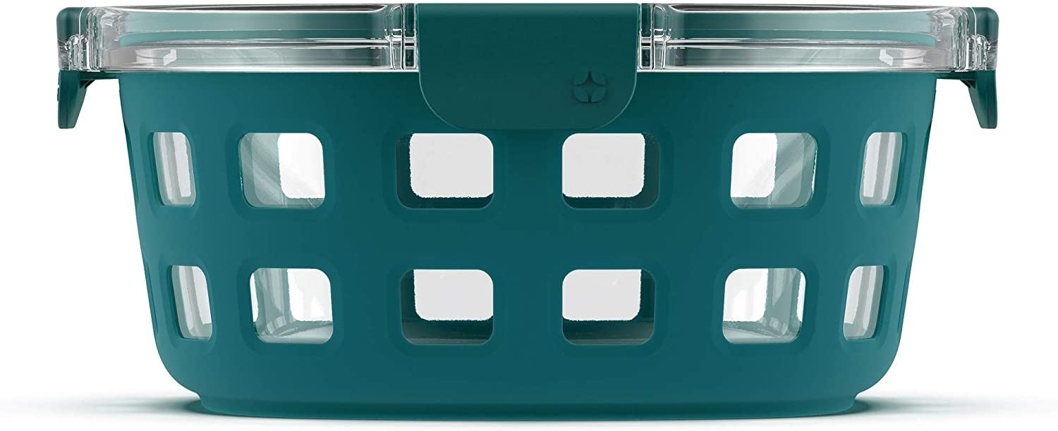 Ello DuraGlass Rounds Glass Food Storage Containers - Meal Prep Bowls with Silicone Sleeve and Airtight Lids, 7 Cup, Watercress, Teal (153-0841-039-6)