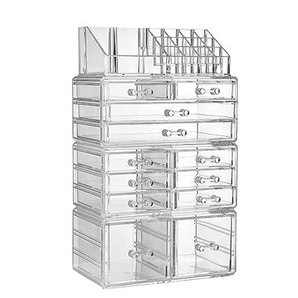 Amazon Com Zhiai Makeup Organizer Dresser Cosmetic Storage Clear