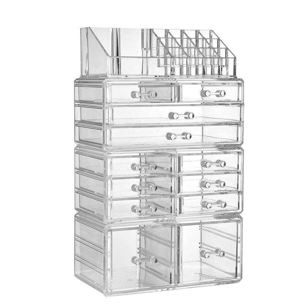 CDM product ZHIAI Makeup Organizer Dresser Cosmetic Storage - Clear Acrylic Jewelry Brush Holder Set, 8 Small Drawers, 2 Large Drawers and 2 Square Drawers, Great for Bathroom, Dresser, Vanity and Countertop big image