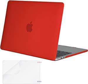 MOSISO MacBook Pro 13 inch Case 2019 2018 2017 2016 Release A2159 A1989 A1706 A1708, Plastic Hard Shell Case&Screen Protector Compatible with MacBook Pro 13 inch with/Without Touch Bar, Red