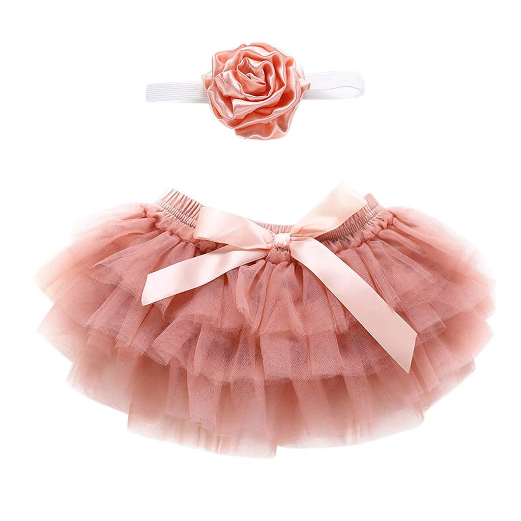 Newborn Infant Kids Baby Girl Bowknot Tulle Skirts+Headband Outfits Swing Best