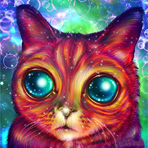 5D DIY Diamond Painting, 125x20cm Crystal Rhinestone Drill Colorful Starry Night, Paint by Number Kits for Home Wall Arts Decoration (Big Eye Cat)