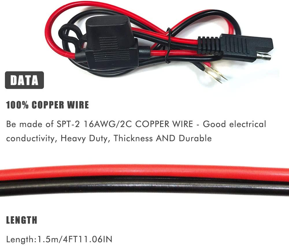 5FT 16AWG SAE to O Ring Connection Terminal Harness 2-Pin Lug Quick Disconnect Plug SAE Battery Extension Cable for Motorcycle Cars with 7.5 A Fuse