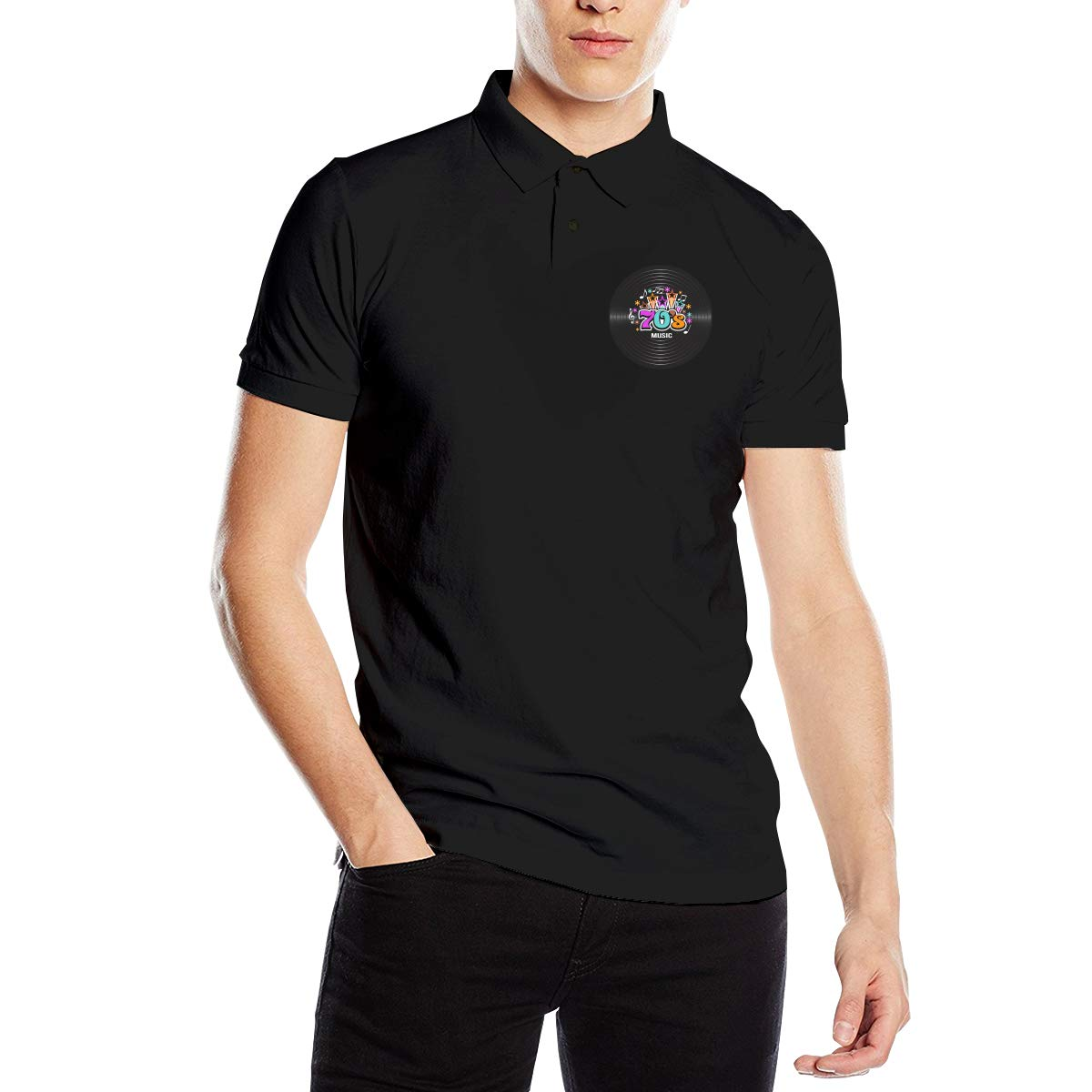 Hengteng Mens Personalized Sweaty 70s Music Discography Short Sleeve Cool Polo Shirt Black