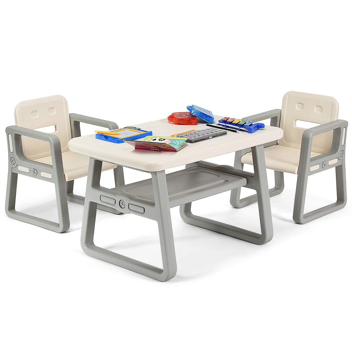 Costzon Kids Table and 2 Chair Set, Children Table Furniture with Storage Rack for Toddlers Reading, Learning, Dining, Playroom, Desk Chair for 1 to 3 Years, Activity Table Desk Sets (White) by Costzon