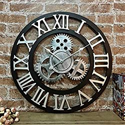 SHOP YJXA Silent 3D European Style Retro Creative Wall Clock Industrial Gear Art Personality Living Room Decoration Clock Wall Clocks (Color : Roman Silver, Size : 28 inches (70cm))