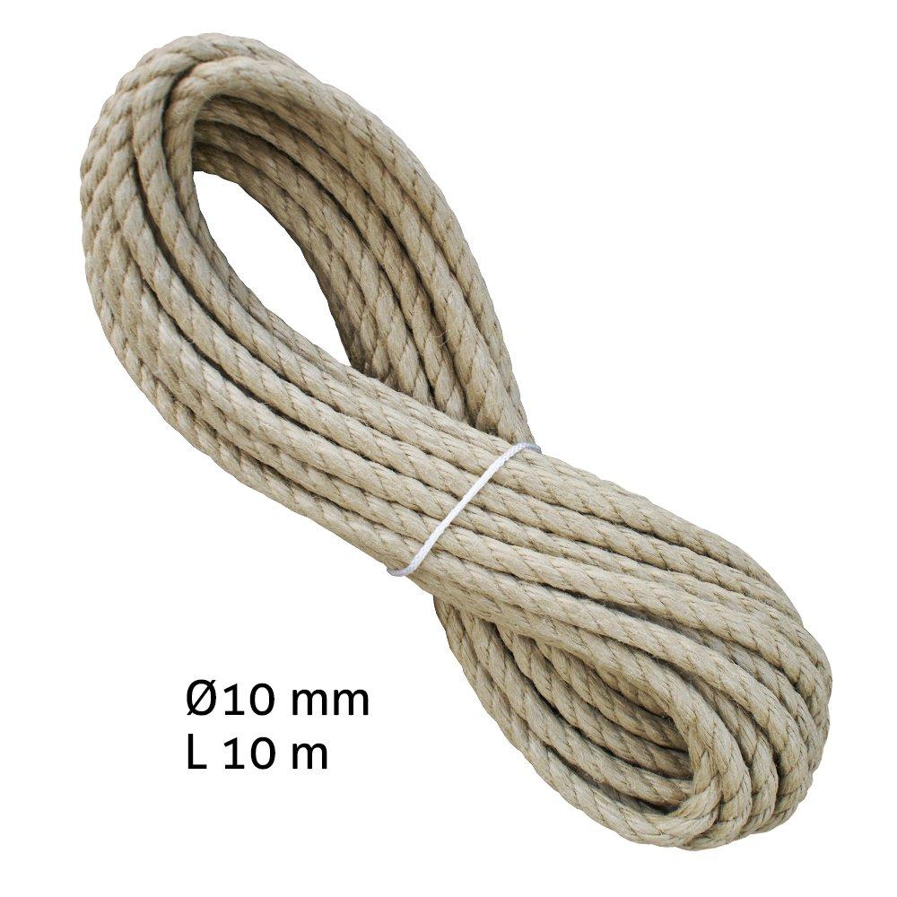Liros Historic Seil 10 mm, 10 m lang, 3-schäftig gedreht, Hanfseil ...