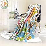 YOYI-HOME Luxury Collection Ultra Soft Plush Fleece Floral Frame Leaves with Ocean Waves with a Woman Silhouette Paisley Artwork Print Multicolor All-Season Throw/Bed Blanket /W47 x H59