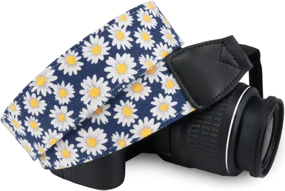 Wolven Pattern Canvas Camera Neck Shoulder Strap Belt Compatible with All DSLR/SLR/Men/Women etc, Small Yellow Flower Floral