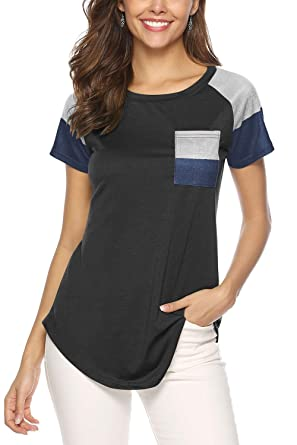 f0810e49d586 Aranmei Women s Casual Short Sleeve T Shirt Round Neck Blouse Tops with  Color Block Pocket(