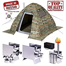 Winter Tent with Stove Pipe Vent. Hunting Fishing Outfitter Tent with Wood Stove. 4 Season Tent. Expedition Arctic Living Warm Tent. Army Military Tent. For Fishermen, Hunters and Outdoor Enthusiasts!
