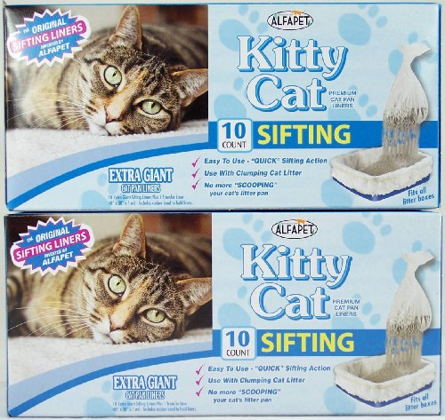 Kitty Cat Sifting Litter Box Liners- 10 Per Box Plus 1 Transfer Liner Per Box- 40 in X 38 in (2 Pack/Boxes)
