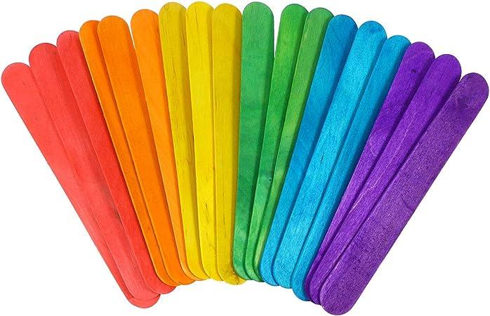 HEALLILY 200 Piezas Palitos Madera Manualidades Multicolor para Artículos de Artesanía DIY Bricolaje Juguetes Educativos para Niños: Amazon.es: Hogar