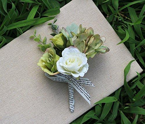MOJUN Wedding Flower Artificial Rose Hydrangea Boutonniere Corsage for Groom Groomsmen Best Man, Pack of 1, Green&White