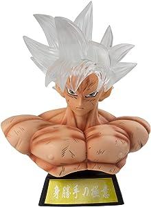 Super Saiyan Ultra Instinct Son Goku Bust Black Zamasu PVC Action Figure GK Collection DBZ Goku Figurine Model Toys Statue Home Car Decor (White Hair with LED)