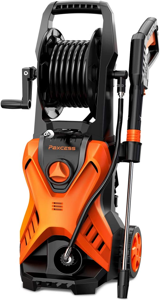 Electric Power Pressure Washer,PAXCESS 2800 PSI Car Wash Machine With Hose Reel and Adjustable Nozzle Fit for Cleaning Homes/Buildings/Cars/Decks/ Patios (Ship FromCA,USA))