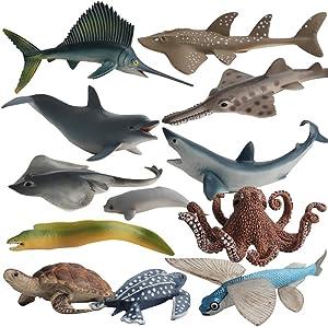 Fantarea Ocean Sea Marine Animal Figures Model Bath Set Toys Figurine Shark Turtle Decoration Playset Gifts Collection Cognitive Toys for Kid Boys Girls 5 6 7 8 Year Old(12 pcs)