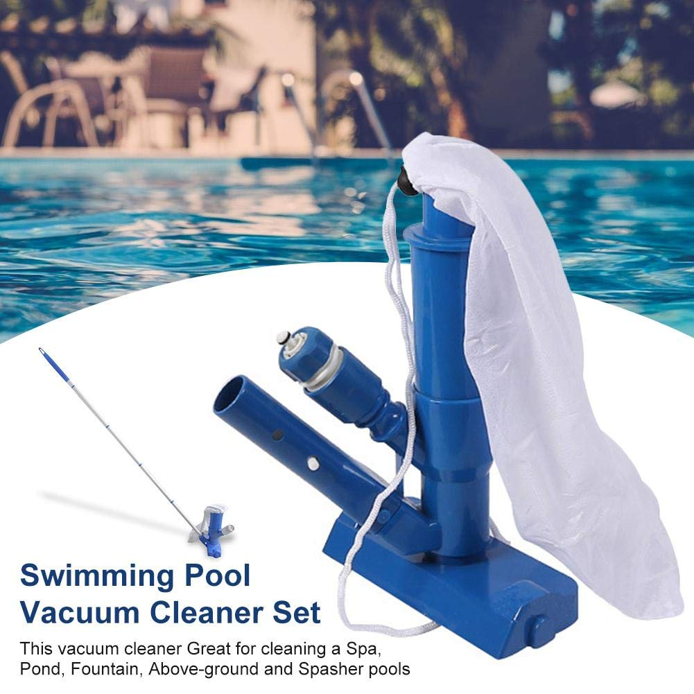 Leaf Bag for Above Ground Pool Blue Ponds /& Fountains Spas Pool Vacuum Jet Cleaner Portable Deluxe Jet Pool Supply with 5 Section Pole Scrub Brushes