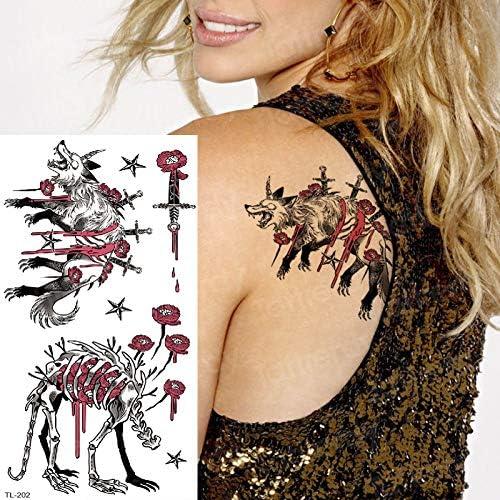 tzxdbh Tatuaje de Halloween Mujeres Hombres Hombro Tatuajes ...