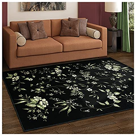 Superior Bloom Collection Area Rug, 8mm Pile Height with Jute Backing, Beautiful Dramatic Floral Pattern, Fashionable and Affordable Woven Rugs - 8' x 10' (Flower Living Room Rug)