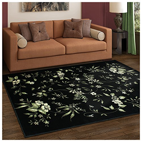 Rug Floral Black - Superior Bloom Collection Area Rug, 8mm Pile Height with Jute Backing, Beautiful Dramatic Floral Pattern, Fashionable and Affordable Woven Rugs - 8' x 10' Rug
