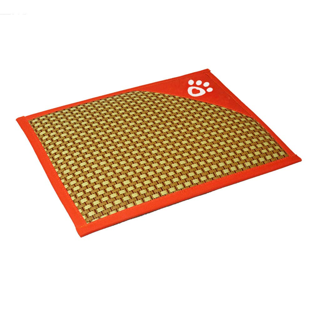 HUN Huangou Cozy Dog Beautiful Comfortable Thin Stripes Design Antislip Summer Cooling Pet Mat (Orange, 40302cm)