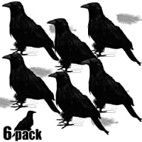 ATDAWN Halloween Black Feathered Crows, Realistic Looking Halloween Decoration Birds, 6 Pack