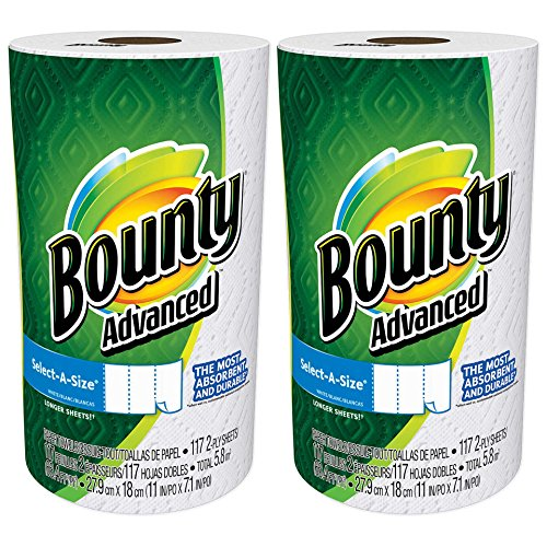 Price comparison product image Bounty Advanced Select-A-Size, 2 x More Absorbent Paper Towels Roll, 11 x 7.1-Inches, White (234 Sheets)