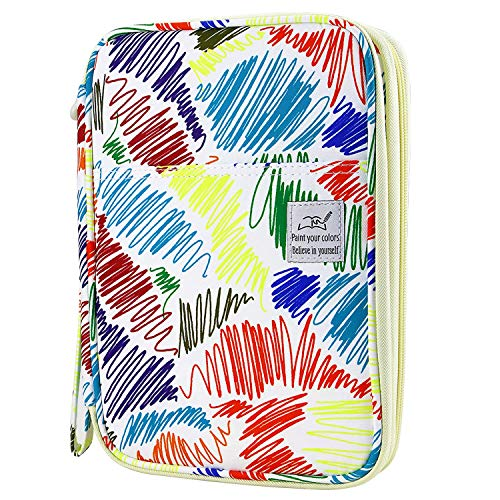 - Shulaner Colored Pencil Case Slot Holds 192 Pencils or 144 Gel Pens with Zipper Closure Large Capacity Polyester Pen Organizer for Marker Watercolor Coloring Pencil Gel Pen