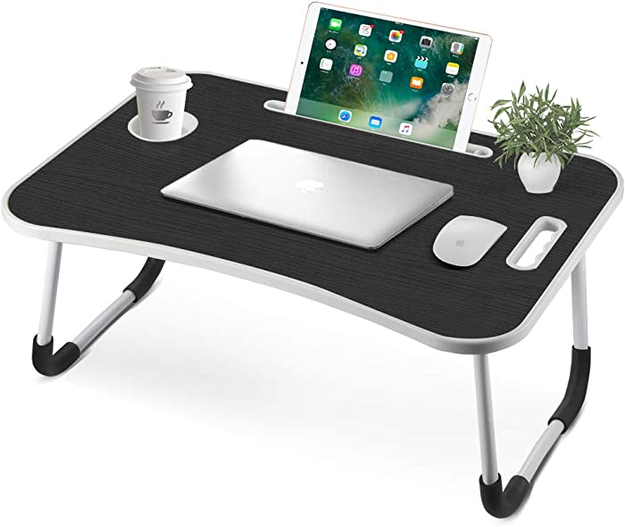 VANSPACE Bed Table, Foldable Lap Desk Portable Lap Standing Desk Breakfast Tray Small Dormitory Table with Cup Slot, Notebook Stand Reading Holder & Handle for Sofa, Bed, Terrace, Balcony-Black