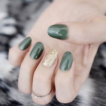 Amazon Com Designed Nails Oval Short Fake Nails Glitter Nail Gel