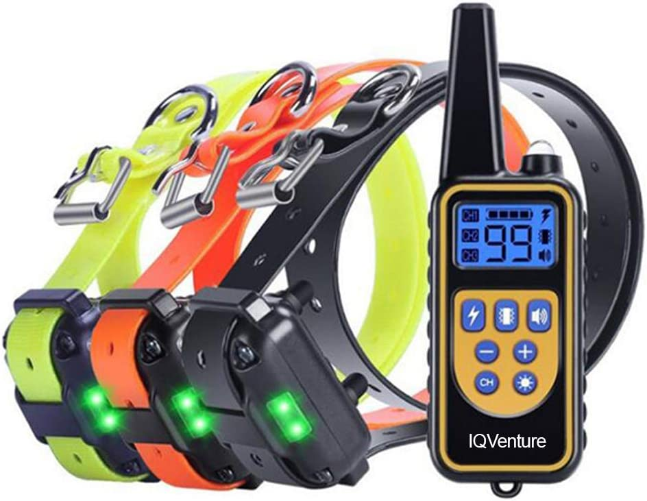IQVenture Dog Training Collar,Long Range 2600ft Rechargeable Shock Collar,100 Waterproof Dog Shock Collar