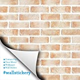 Wallstickery brick contact paper prepasted wallpaper for wall stickers self adhesive removable peel and stick pattern design DIY interior decorating home kitchen bedroom WS-DBS-23 1.64 ft by 9.84 ft