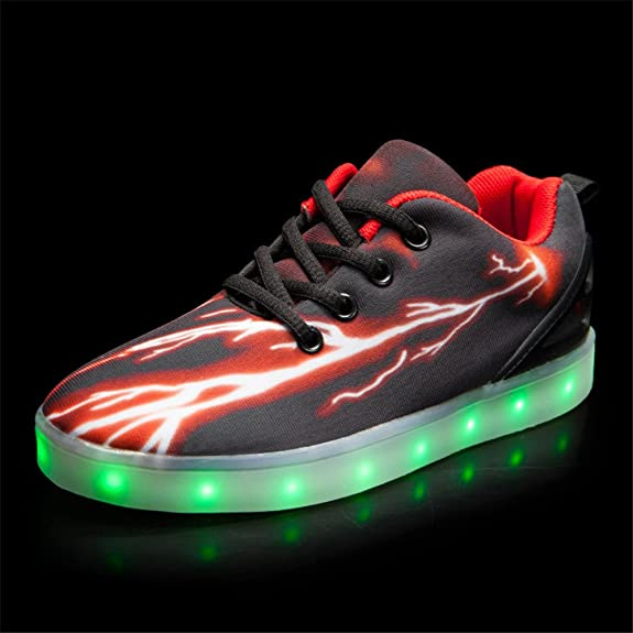 SHELAIDON LED Turnschuhe Licht Blinkt Leucht Schuhe Kinder Mädchen Jungen Unisex (EUR27,orangeflash)