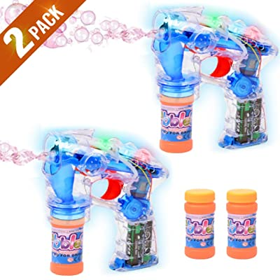 Haktoys 2-Pack Transparent Bubble Shooter Gun | Ready to Play Light Up Blower with LED Flashing Lights, Extra Bottle, Bubble Blaster Toy for Toddlers, Kids, Parties (Sound-Free, Batteries Included): Toys & Games