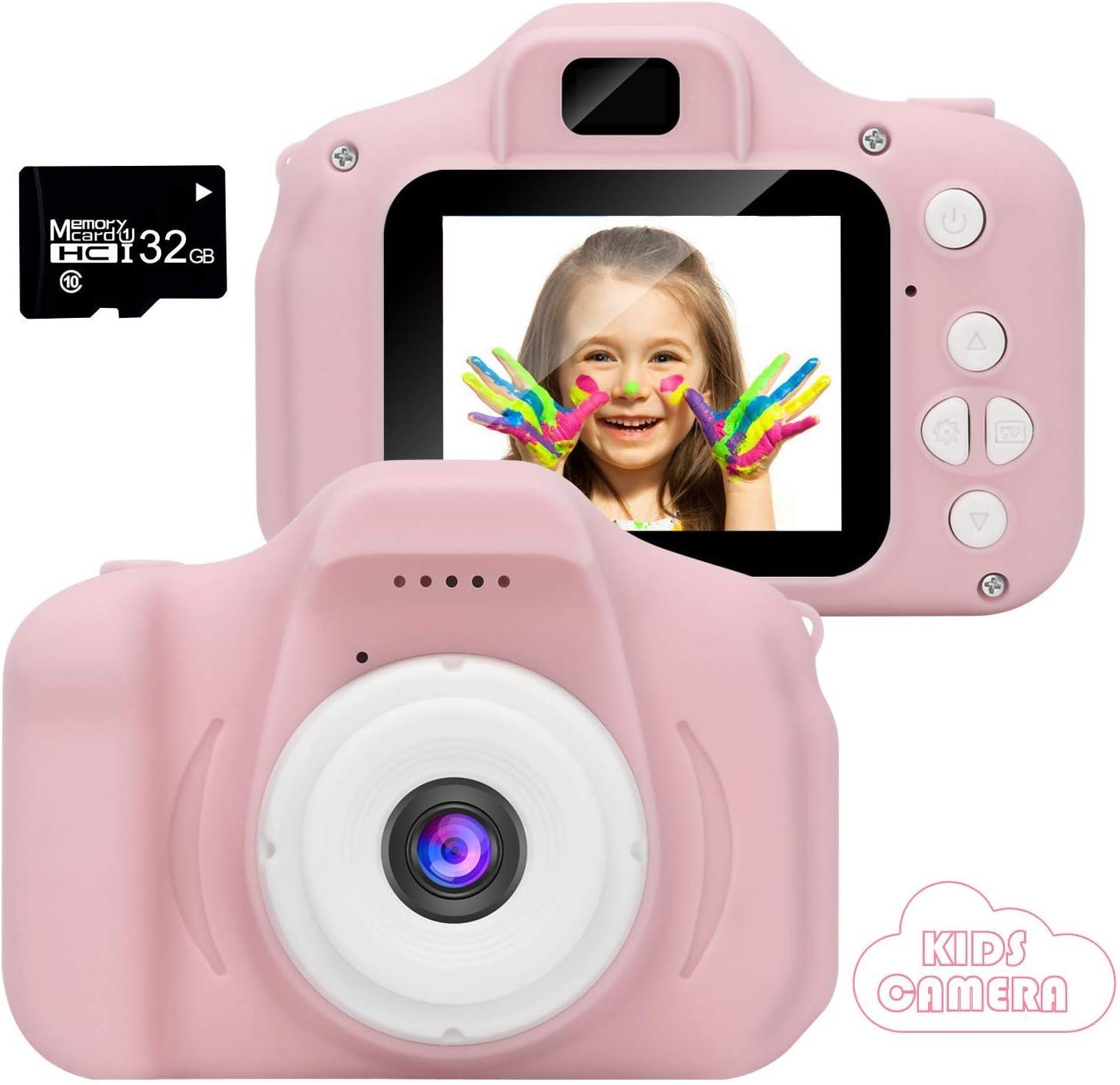 2020 Nueva Cámara para Niños, Cámara de Fotos/Video HD 1080p Cámara Digital para Piños, Pantalla LCD de 2 Pulgadas/Tarjeta 32G (Rose-4)