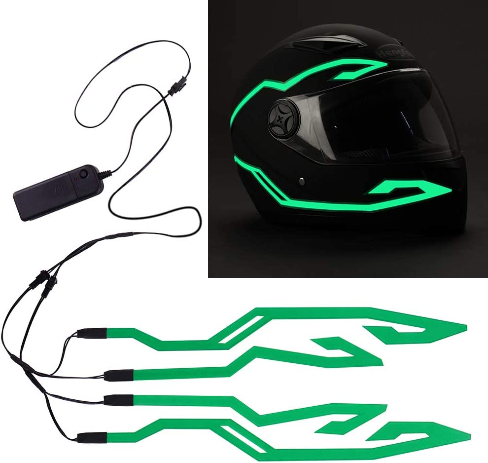 Night Riding Signal Helmet EL Light 4PCS Motorcycle Helmet Light Green 3 Mode Led Helmet Light Strip Decoration Accessories Kit for Motorcycle Bike Helmet
