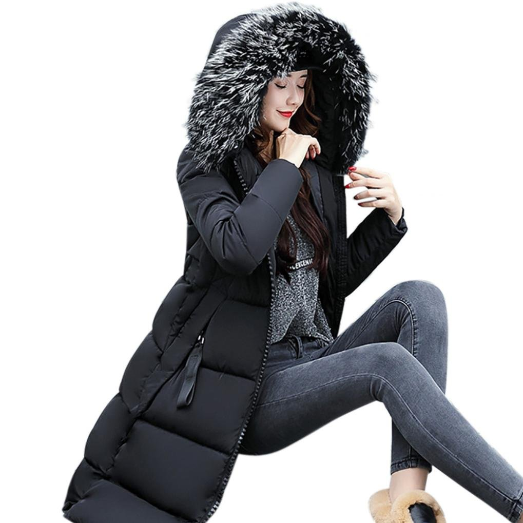 Forthery Women's Long Puffer Jacket with Plush Lined Fur Trim Hood Down Coats (Tag L= US M, Black)